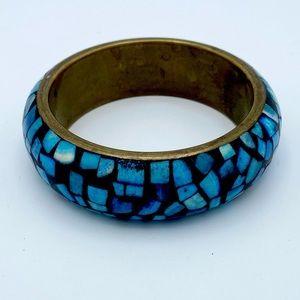 Vintage Blue Abalone Inlay Chunky Bangle Bracelet